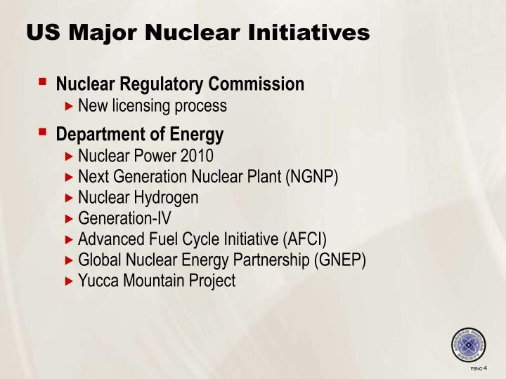 US Major Nuclear Initiatives