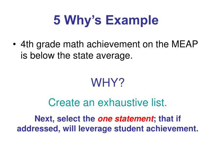 5 Why's Example