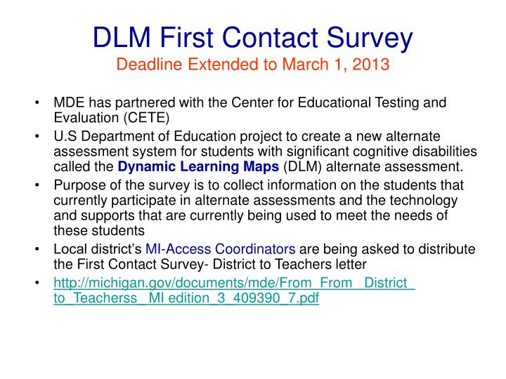DLM First Contact Survey