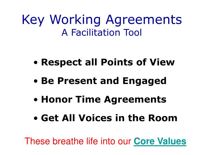 Key Working Agreements