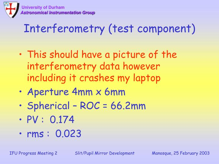 Interferometry (test component)