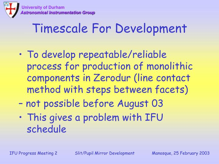 Timescale For Development