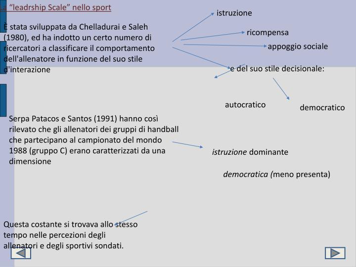 """La """"leadrship Scale"""" nello sport"""