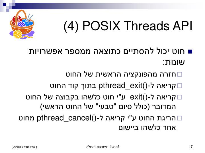 POSIX Threads API