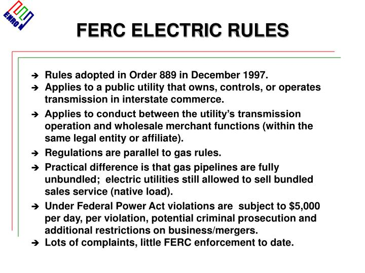 FERC ELECTRIC RULES