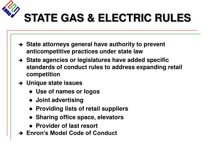 STATE GAS & ELECTRIC RULES