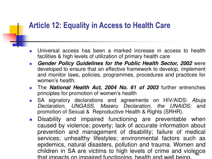Article 12: Equality in Access to Health Care