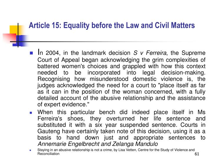 Article 15: Equality before the Law and Civil Matters