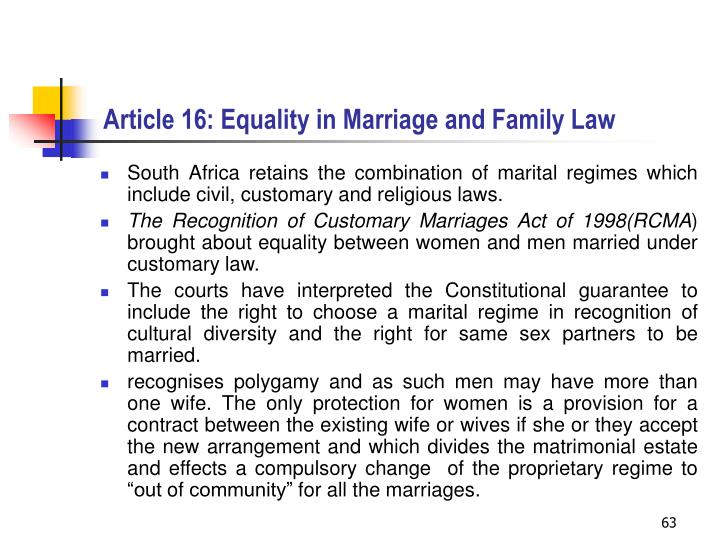 Article 16: Equality in Marriage and Family Law