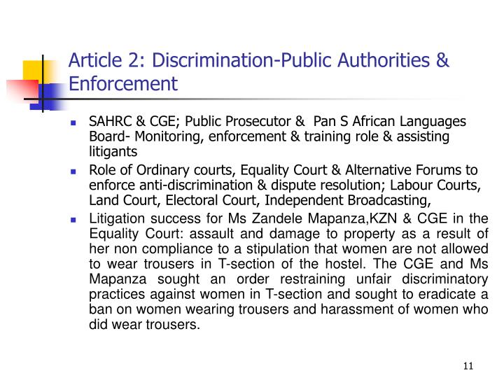 Article 2: Discrimination-Public Authorities & Enforcement