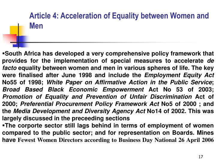 Article 4: Acceleration of Equality between Women and Men