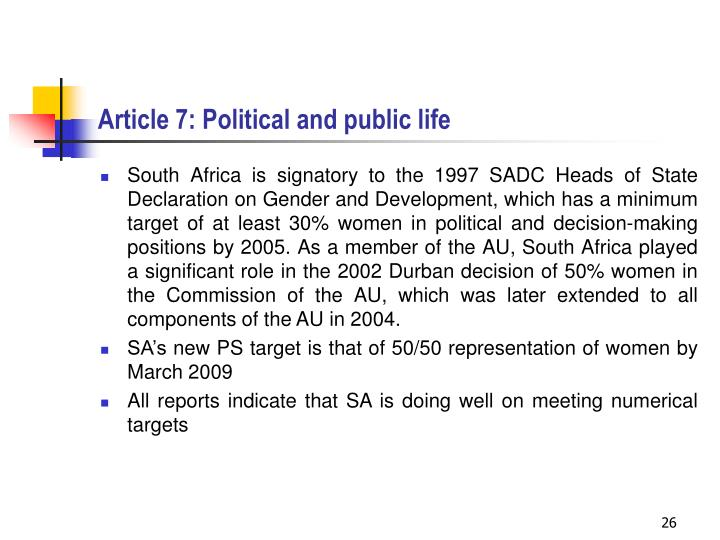 Article 7: Political and public life