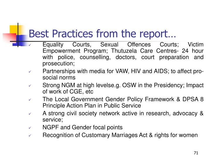 Best Practices from the report…