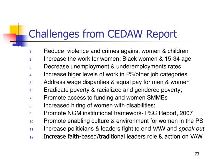 Challenges from CEDAW Report