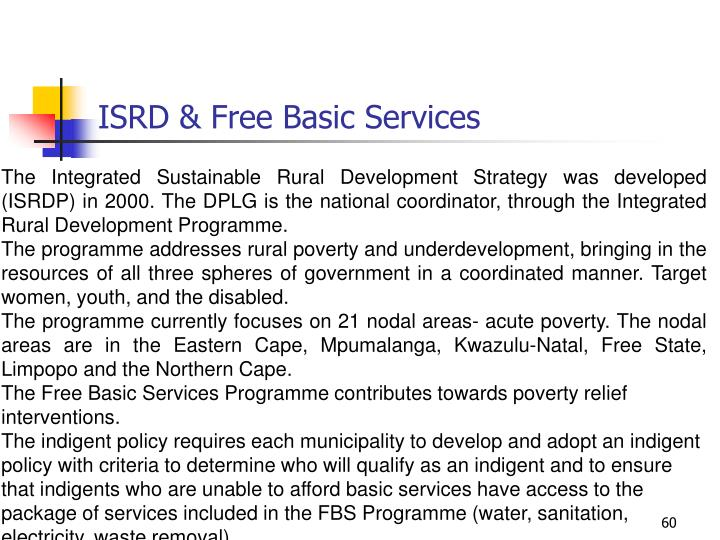 ISRD & Free Basic Services