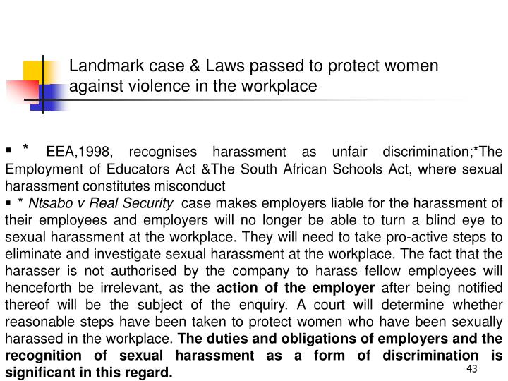 Landmark case & Laws passed to protect women against violence in the workplace
