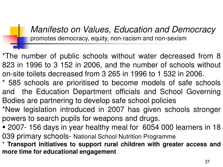 Manifesto on Values, Education and Democracy