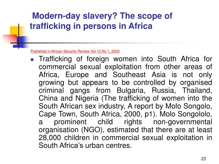 Modern-day slavery? The scope of trafficking in persons in Africa