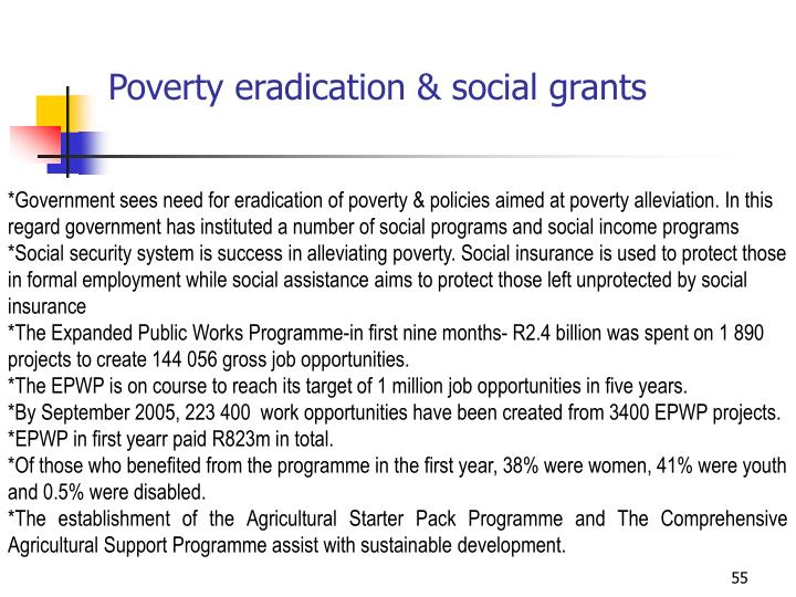 Poverty eradication & social grants