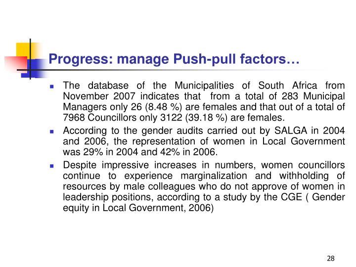 Progress: manage Push-pull factors…