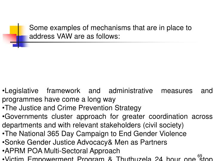 Some examples of mechanisms that are in place to address VAW are as follows: