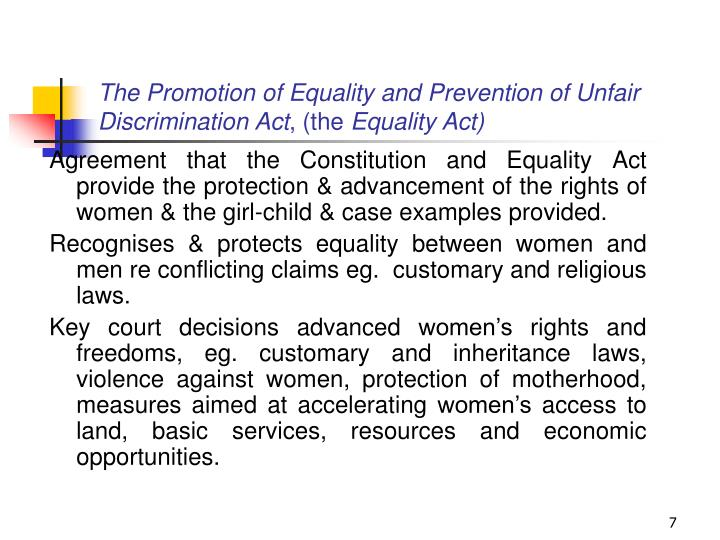 The Promotion of Equality and Prevention of Unfair Discrimination Act