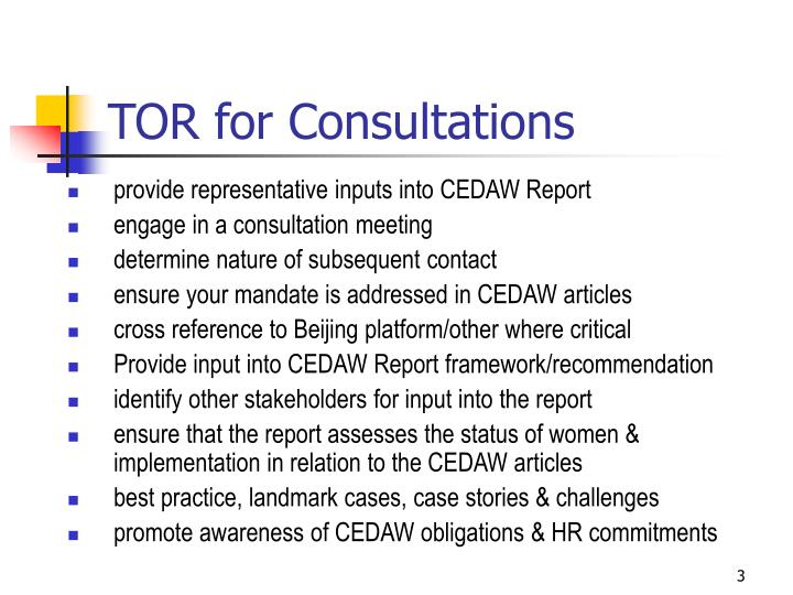TOR for Consultations