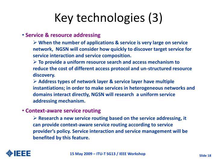 Key technologies (3)