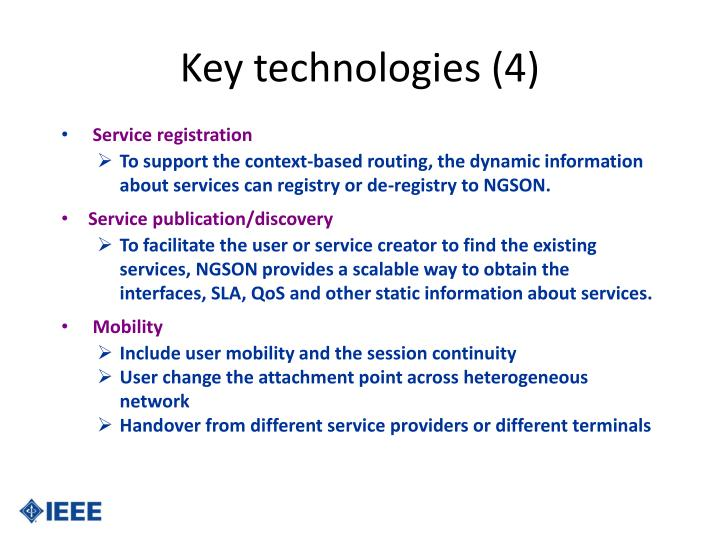 Key technologies (4)