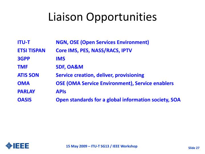 Liaison Opportunities