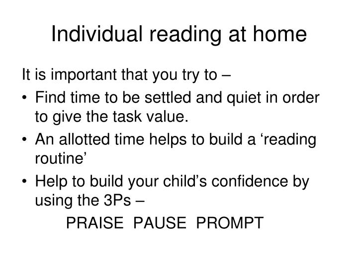 Individual reading at home