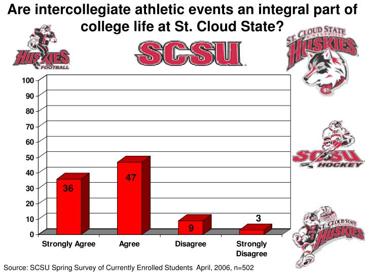 Are intercollegiate athletic events an integral part of college life at St. Cloud State?