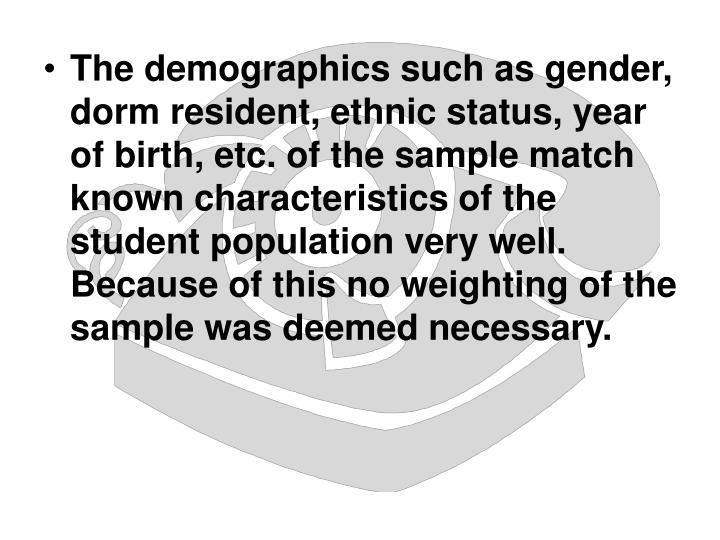 The demographics such as gender, dorm resident, ethnic status, year of birth, etc. of the sample match known characteristics of the student population very well.  Because of this no weighting of the sample was deemed necessary.