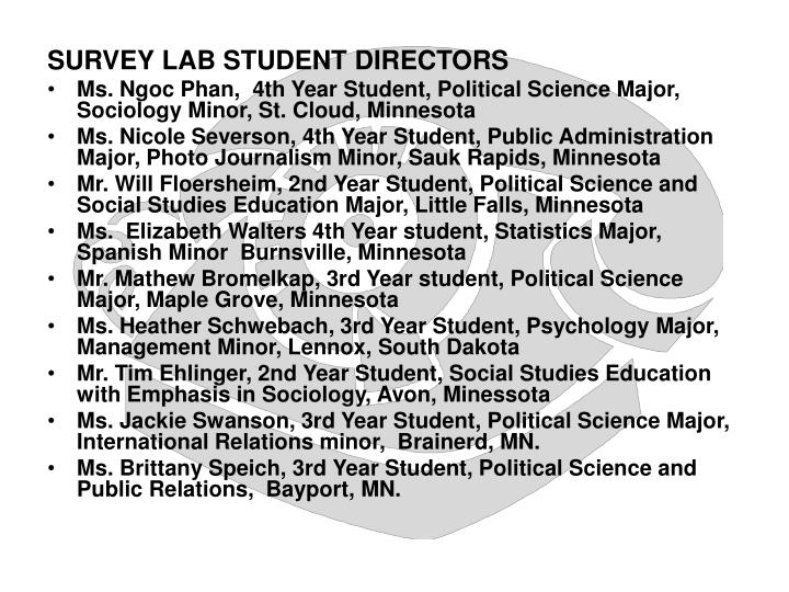 SURVEY LAB STUDENT DIRECTORS