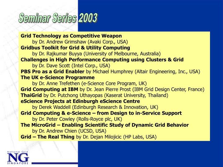 Seminar Series 2003