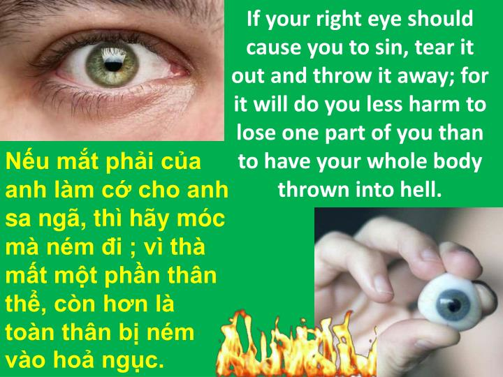If your right eye should cause you to sin, tear it out and throw it away; for it will do you less harm to lose one part of you than to have your whole body thrown into hell.