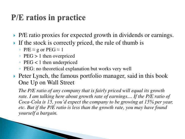P/E ratios in practice
