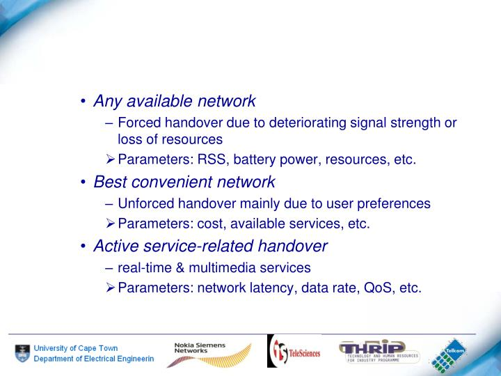 Any available network