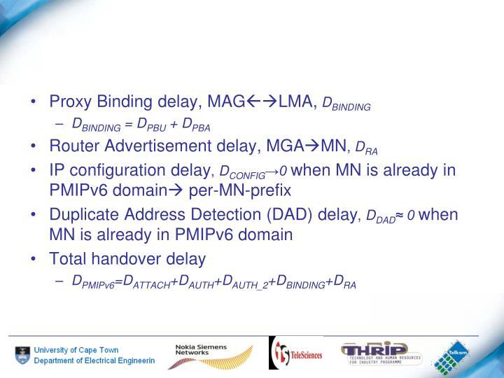 Proxy Binding delay, MAG