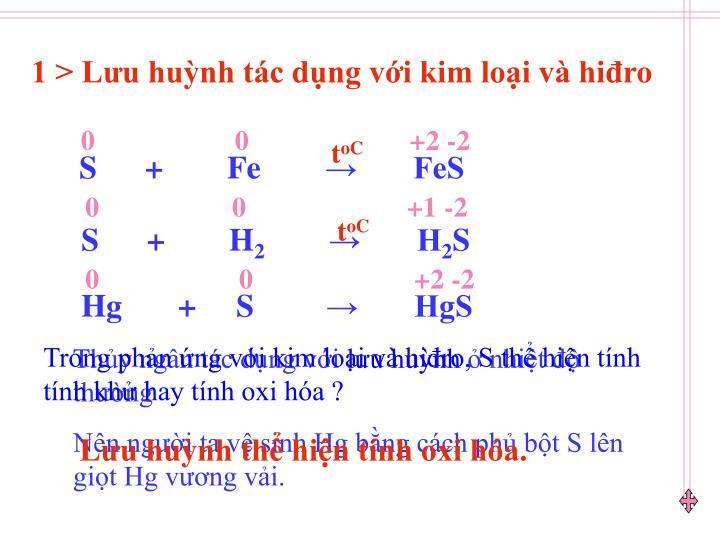 1 > Lưu huỳnh tác dụng với kim loại và hiđro