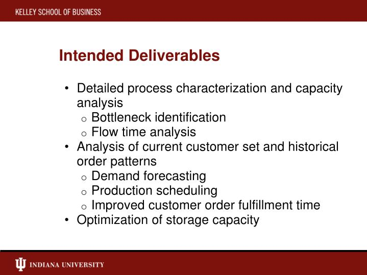 Intended Deliverables