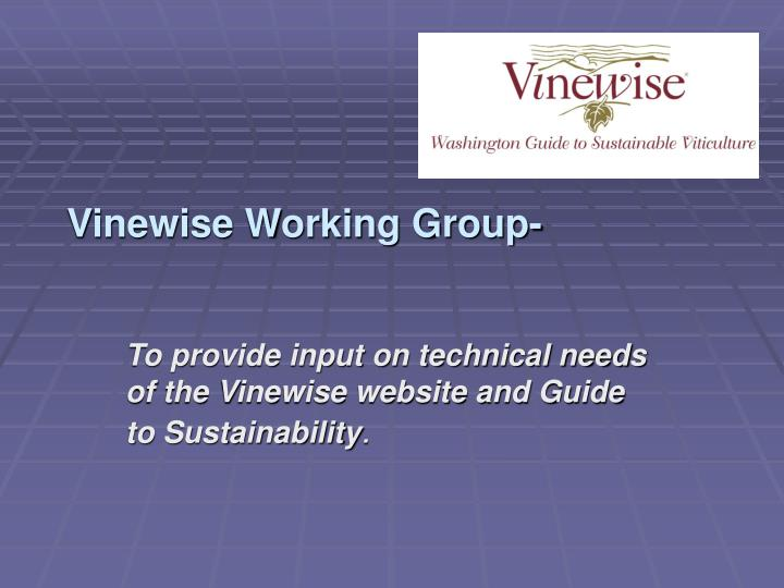 Vinewise Working Group-
