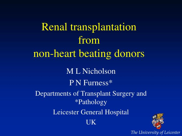 Renal transplantation from non heart beating donors