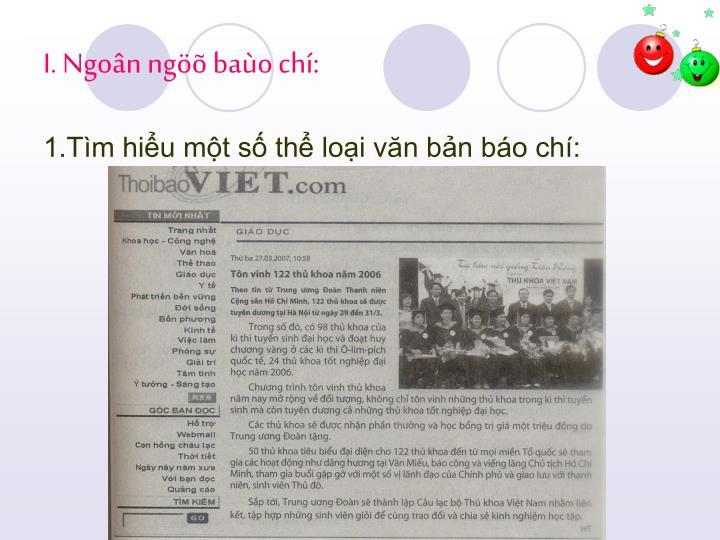I. Ngoân ngöõ baùo chí: