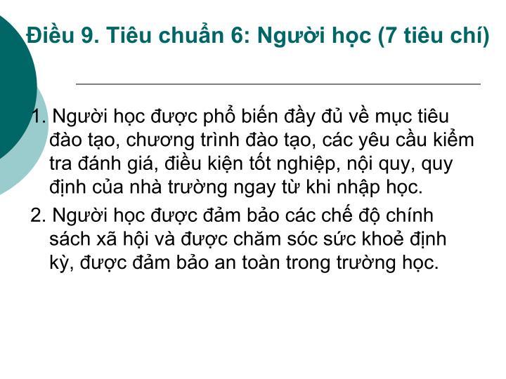 Điều 9. Tiêu chuẩn 6: Người học (7 tiêu chí)