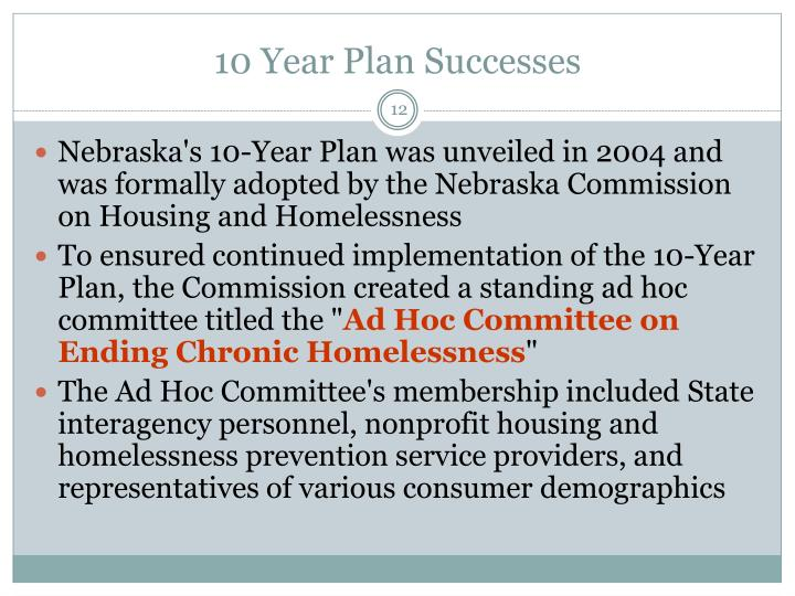 Nebraska's 10-Year Plan was unveiled in 2004 and was formally adopted by the Nebraska Commission on Housing and Homelessness