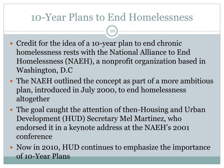 10-Year Plans to End Homelessness