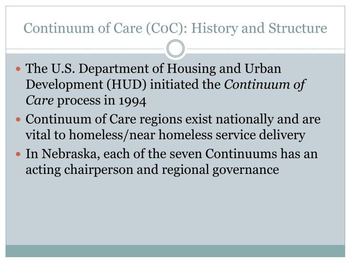 Continuum of Care (C0C): History and Structure