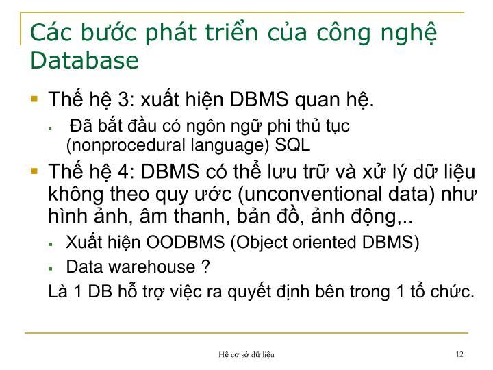 Các bước phát triển của công nghệ Database