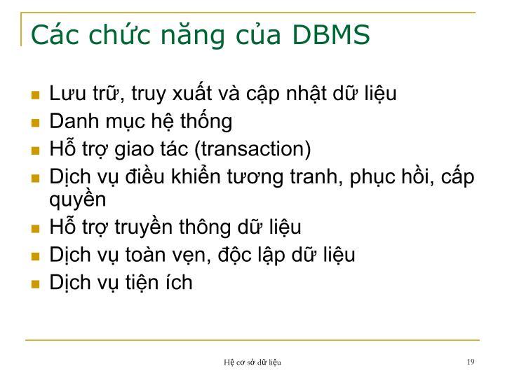 Các chức năng của DBMS